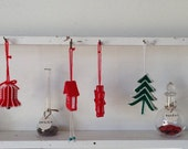 Vintage Kitsch Knitted Christmas Tree Modern Ornaments