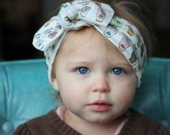 Starbucks Baby knotted Headbands / Baby turban Headbands / Baby Girl Head Wraps / Baby Headwrap / Headbands for Baby Girls / Baby Bow Headba