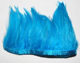 1 metre Full Hackle Feather Fringe - Turquoise