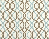 "Two  96"" x 50""  Custom Curtain Panels -  Waverly Make Waves - Latte Brown/ Robins Blue"