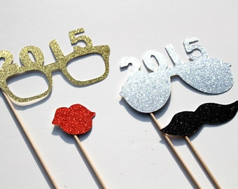 2015 New Years Eve Photo Booth Props - Silver and Gold - New Years Party Props - set of 4 - GLITTER photo props