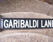 Garibaldi street sign antique street sign Garibaldi Lane steel and porcelain industrial Victorian Art Deco