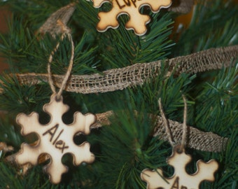 Custom Snowflake Rustic Wood Engraved Ornaments Personalized With Names
