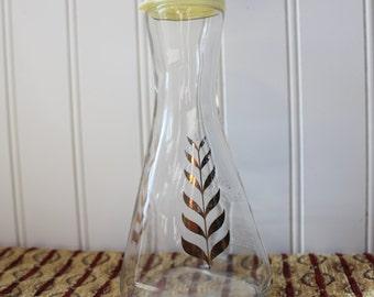 Retro Good Seasons Vinegar & Oil Cruet Bottle Gold Leaf