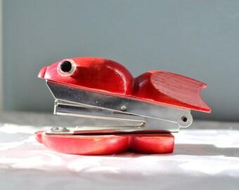 Red Wood Fish Stapler Herman Pecker Japan