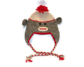 Crochet Sock Monkey Hat (child size)