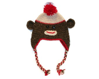 Crochet Sock Monkey Hat (toddler size)