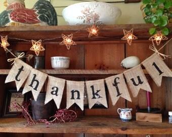 Thankful Burlap Bunting, Thankful Bunting, Thanksgiving Decor, Autumn Bunting, Fall Banner, Autumn Garland, Fall Bunting, Holiday Decor