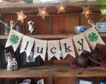 St. Patricks Day Bunting, St. Paddys Bunting, Clover Bunting, Burlap St. Patricks Bunting, St. Patricks Garland, Lucky Bunting, St. Patricks