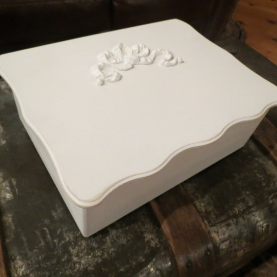 Wedding Card Box Shabby Chic White Wood Box With By SHubbShop