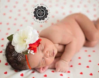 Christmas Newborn Headband, Weddings, Baptism,Christening, Flower Girls, Baby Headband