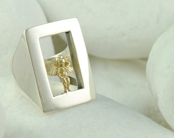 Love in a Window Ring (L) - Solid Sterling Silver and Solid 14K Gold, FREE Shipping