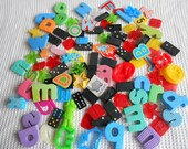 Vintage Grab Bag Mixed Toy Pieces Craft Pack Letters Domino 450Grams