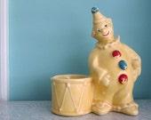 Vintage Clown Planter - Yellow Ceramic