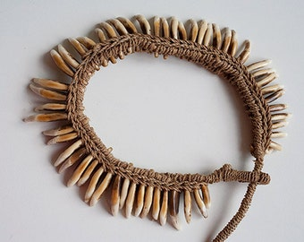 Dog Tooth Necklace from Papua New Guinea Ethnic Artifact Mid 20th Century
