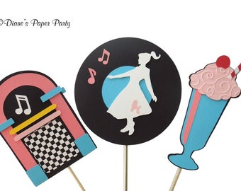 1950s Sock Hop Birthday Party Centerpiece Sticks