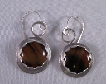 Montana Carnelian Agate Earrings in Sterling Silver