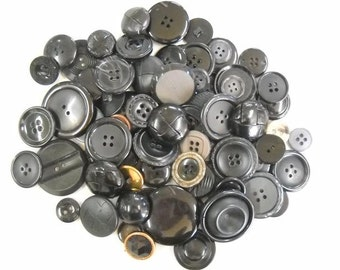 Lot fo black buttons- Vintage and new from old stock-Lot p01