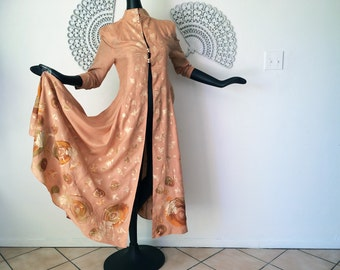 Vintage Silk Robe OOAK Hand Painted Rockabilly Pinup Bombshell Asian Chinese Dressing Gown Nightie 1940s 1950s 1960s Era Unknown Sheer Peach