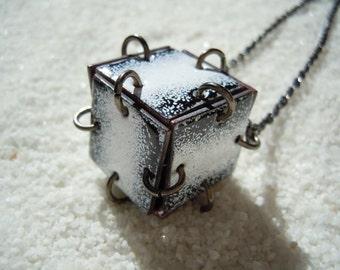 Black and White Cube Necklace Enamel Jewelry Artisan Jewelry