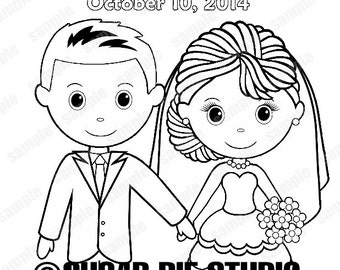printable personalized wedding coloring activity book favor kids 85 x 11 pdf or jpeg template - Personalized Wedding Coloring Book