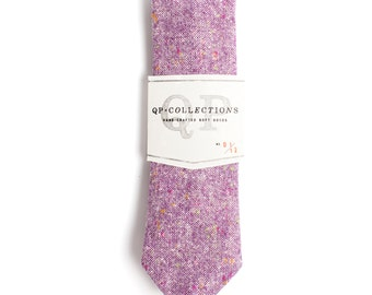 Purple Wool Tweed - Skinny Tie - Wedding - Monogram - Groom