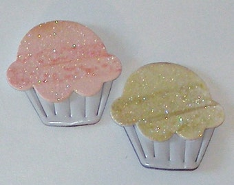 2 Cupcake Magnets - Recycled Glitter GREETIING CARD and SODA Can
