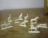 Nine plastic animals Butter / Margarine Premium figures. 1950's. EI-FEIN. VOSS