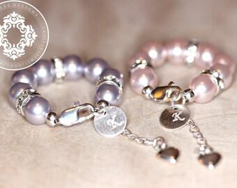 Twin bracelet Set, Personalized, Monogram, newborn gift, baby shower, christening,communion, godmother gifts, by JewlesDesigns on etsy
