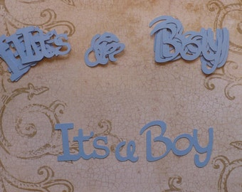 Die Cuts It's A Boy words / phrases Blue cardstock 4 card making Baby Boy
