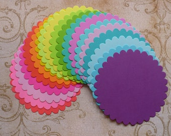 18 pc Scallop Circles Bright Colors Die Cuts Cardstock for DIY Banners Crafts Tags Banners Labels