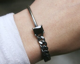 Oxidized Chain Sterling Silver Bracelet Black CZ Pointed