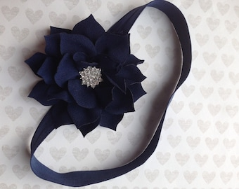 Navy Headband Rhinestone flower,Girl headband .