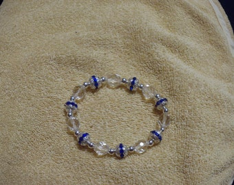 Blue & Clear Stretch Bracelet