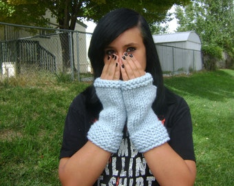 Fingerless Gloves, Chunky Knit Ice Blue Wool