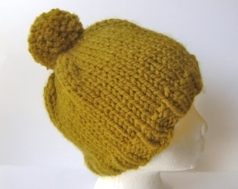 Knit Beanie Hat with Pom Pom, Thick Wool Blend for Winter in Light Olive Green