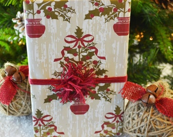 SALE - Holly Trees Christmas Wrapping Paper, Ecofriendly