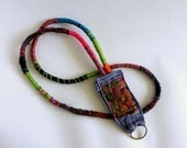 Patch Me In  Bohemian Patchwork Fiber Art ID Key Ring Lanyard Autumn Afternoon