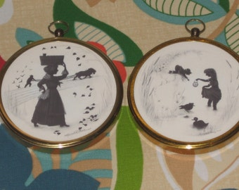 Vintage Miniature Silhouette Pictures Peter Bates  Made in England