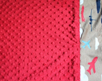 Travel Pillowcase - Red Dimple Dot Minky with Airplane Transportation Minky Border - great for a Toddler or Travel Pillow