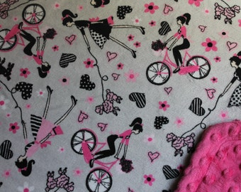 Minky Blanket Pink and Grey Paris Girl Print Minky with Pink Dimple Dot Minky Backing - Perfect Size a Toddler or Child 36 x 42