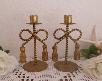 Vintage Candle Holder Two Pair Set Burnished Gold Metal Rustic Winter Wedding Decoration Christmas Holiday Home Decor Taper Gift For Her Him