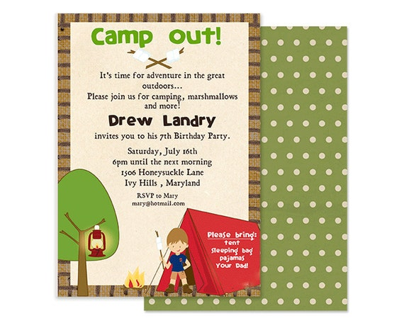 Camping Party Invitation - Camp Out Invites - Boys Camping Invitation - Camping Birthday Party - Summer Birthday Party - Boys Camping