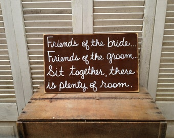 Distressed Brown and White Sit Together There Is Plenty of Room Sign Wood Wedding Seating Sign