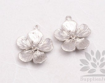 P628-01-MR// Matt Rhodium Plated Small Camellia Pendant, 2 pcs