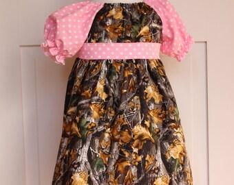 Girls Camoflauge Peasant Dress