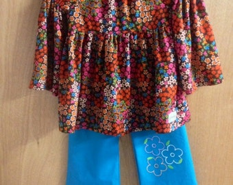 Peasant Top and Flare Pants, girls size 6