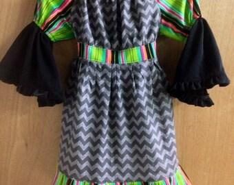 Chevron and Stripes Peasant Dress, girls size 6