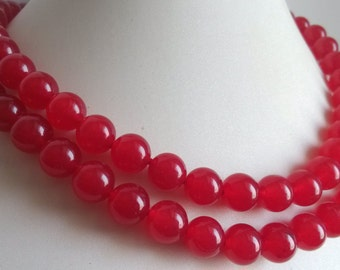 JADE NECKLACE- 33inch 10mm red jade long necklace