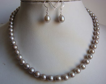 PEARL SET- gray pearl necklace , wedding necklace, necklace earring set -US E-packet shipping service 7-15 days delivery